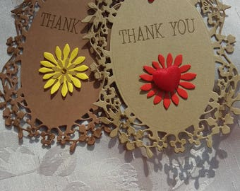 Thank You Tags Brown Gift Tags Large Size Luxury Thank You Tags Set of 2 Wedding Favor Tags Favor Tags