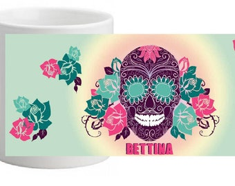 SKULL FLOWER CERAMIC MUG PERSONALIZED WITH THE NAME OF YOUR CHOICE