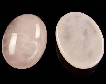 2 oval cabochons 18 x 13 in rose quartz gemstone, semi precious, semi-precious stone