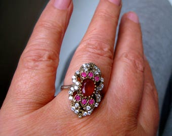silver ring with Ruby and white Sapphire