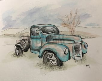 Old Blue Truck Pen and Ink with Watercolor PRINT