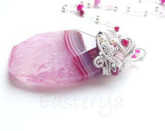 KARIS * necklace wire wrapped large pink agate