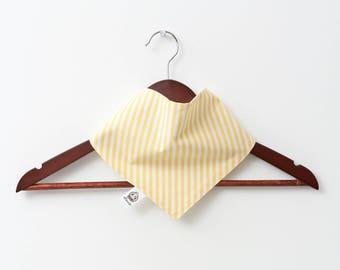White yellow striped %100 cotton bib