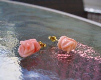 Carved Peach Angelskin Coral Rose 14K Post Earrings Bridal Vintage Boho Gypsy