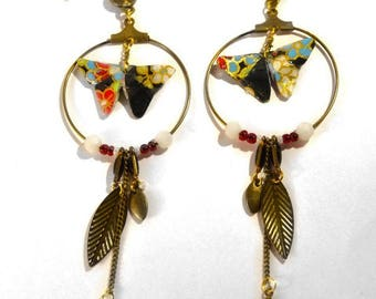 Origami butterflies Yuki 雪. gold plated lotus earrings.