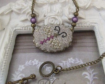 """Vintage necklace embroidered on purple linen """"Butterfly"""" hand made"""