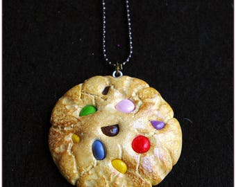 My big smarties colorful chocolate chip cookie gourmet necklace polymer clay