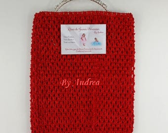 Top tutu crochet stretchy, red, 9/11 years