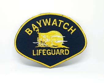 126# Baywatch Lifeguard, Life Guard Iron/Sew on Embroidered Patch