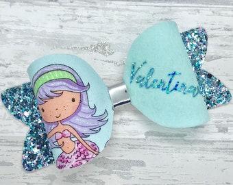 Personalised mermaid bow, personalised hair bow, glitter bow, girls mermaid gift, mermaid hair, Personalised gift,