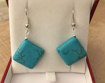 Turquoise Howlite bead dangle earrings