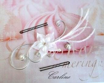 Headband - bridal hair accessories - silk - rhinestone beads - white - Léonie flowers-