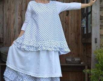 cotton polka dot blouse model Barbara
