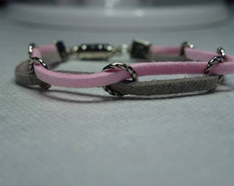 Pink and grey suede bracelet