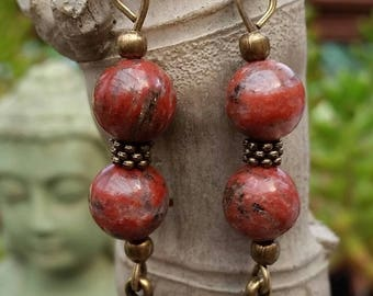 Unakite (8 mm beads) earrings