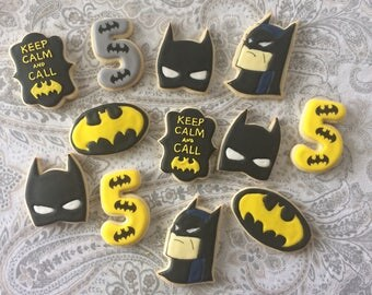 Batman sugar cookies Batman Party Favors