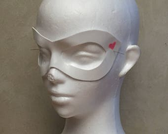 White Harley Quinn Mask with Pink Heart