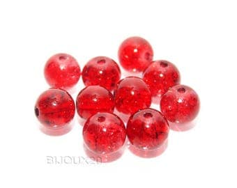 10 pearls 8mm cracked Lot M02403 4 red glass