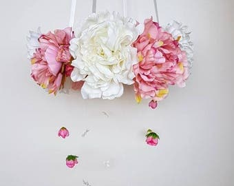 Baby mobile, artificial silk flowers, floral, crib mobile, nursery decor, lamp, chandelier, decoration