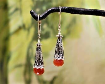 Carnelian Gemstone Sterling Silver Ornate Trumpet Floral Cone Drop Earrings