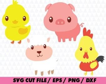 Farm animal svg, Chicken svg, Pig svg, Sheep svg, Cute farm animals svg eps png dxf Cut Print Mug Shirt Decal, cute animals svg, cricut
