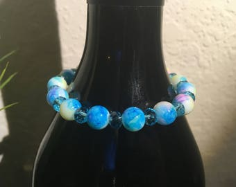 Blue and Yellow Stretch Bracelet