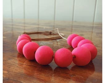 Hot Pink Beaded Polymer Clay Necklace