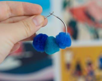 Blue Balls - Small Pom Hoops