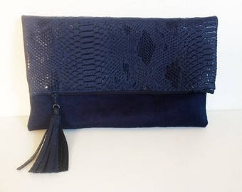 Maxi clutch with faux leather dragon and Navy Blue Suede flap