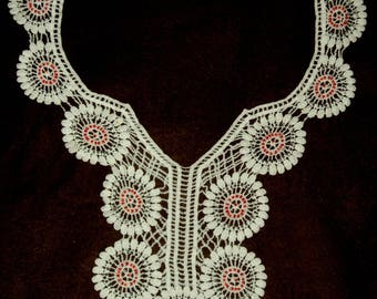 crocheted with colorful rhinestones collar