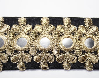 Embroidered black lace Ribbon gold mirrored 3.7 centimeters x 1 meter