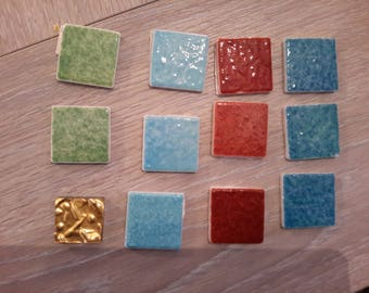 Set of 12 tiles enamels of briare assorted colors