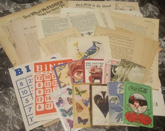 Set of 40 pgs of ephemera, including playing cards and bingo cards