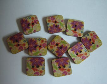 10 BUTTONS WOOD FLOWER SHAPED SQUARES / / 15 MM / / SET 17