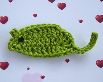 Green mouse - handmade crochet application