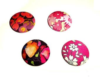 4 cabochons tissu Liberty of London 24 mm couleur dominante fuchsia