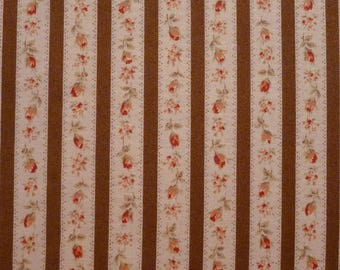 Coupon 80 x 110 cm, small pink and Brown, beige stripes mark Lecien Mrs March's collection