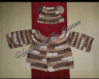 Preemie/Tiny Baby Bear Hat and Cardigan.