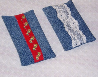 Pocket tissue case blue red and white