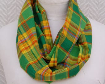 Scarf, green and yellow madras. Unique piece