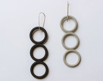 Thre Circle Earrings 3D Printed Black and Grey