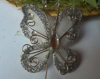 Large white organza Butterfly with Rhinestones and glitter