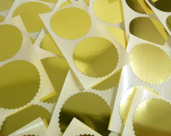 Pack of 50 50mm (2 Inch) Serrated Edge Shiny Gold Certificate Wafer Seals, Labels Stickers for Awards, Rewards & Embossing