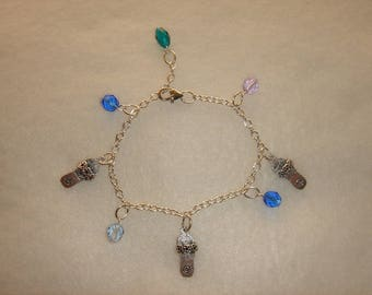 Bracelet with charms and beads pattern South Sea colors summer for wrist or ankle sandals