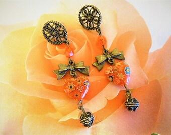 romantic long earrings orange millefiori heart and heart bronze