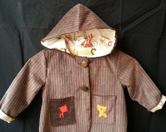 Jacket with hood in cotton corduroy