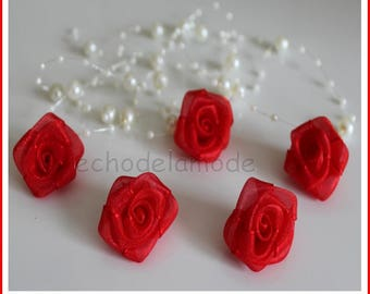 set of 5 pink organza flowers red 3cm approximately, for customization