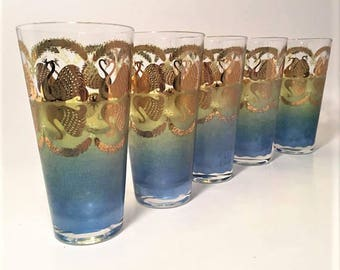 Mid Century Barware, Cera Glass Gold Swan Tumblers, Set of 5 Blue & Green Vintage Drinking Glasses RARE