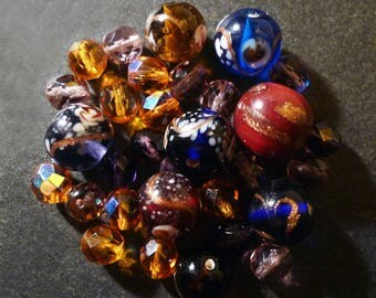 30 round glass beads lampwork Indian multicolored