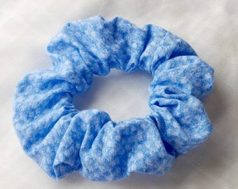 Light Blue Floral Scrunchie